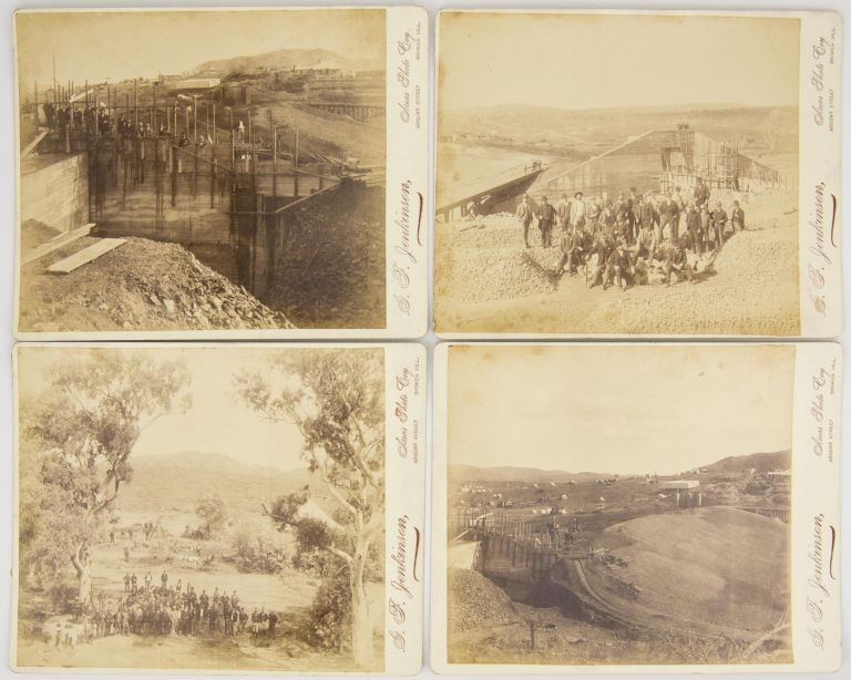Four large albumen paper photographs of the Broken Hill region. The photographs, each approximately 200 × 225 mm, are on the original glossy cream-coloured mounts with the imprint of the photographer, 'G.F. Jenkinson, Areas Photo Coy, Argent Street, Broken Hill'. Broken Hill, George F. JENKINSON.