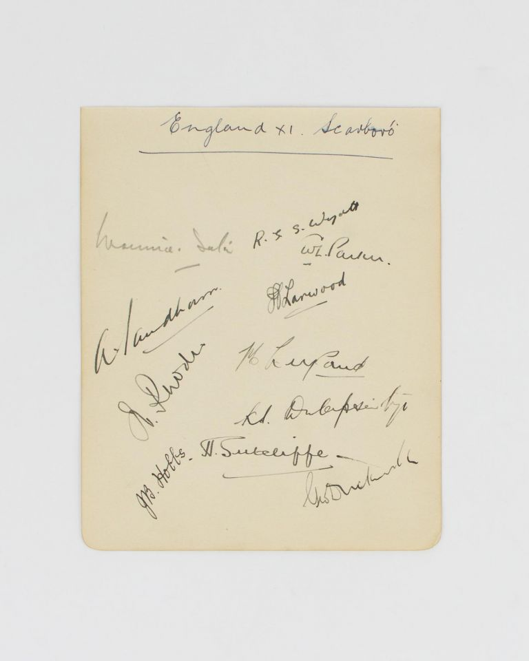 A detached autograph album leaf (160 × 130 mm) signed by eleven members of an English team (all Test players) for the match against Australia at Scarborough, 10-12 September 1930. Cricket, 1930 Leveson-Gower's XI.
