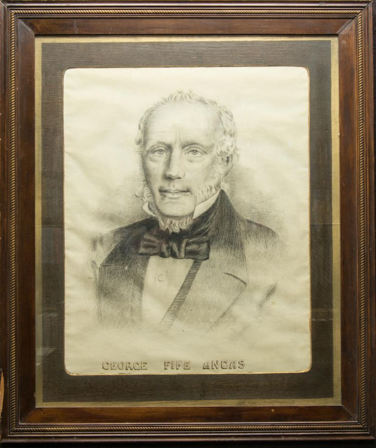 A framed and glazed original pen and ink portrait of George Fife Angas (1789-1879), South Australian pioneer. George Fife ANGAS.