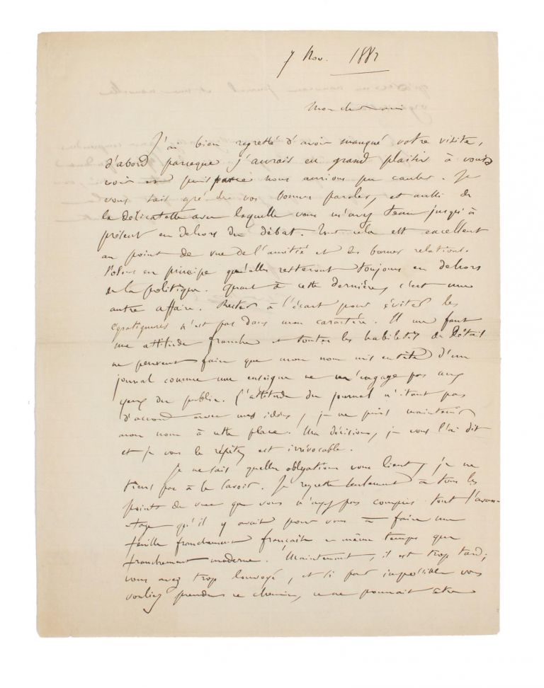 An autograph letter (in French) signed by Camille Saint-Saëns, to Edmond Hippeau, editor of 'La Renaissance musicale: Revue hebdomadaire de critique, d'esthétique et d'histoire', severing his connection with the publication. Camille SAINT-SAENS, organist and conductor French composer.