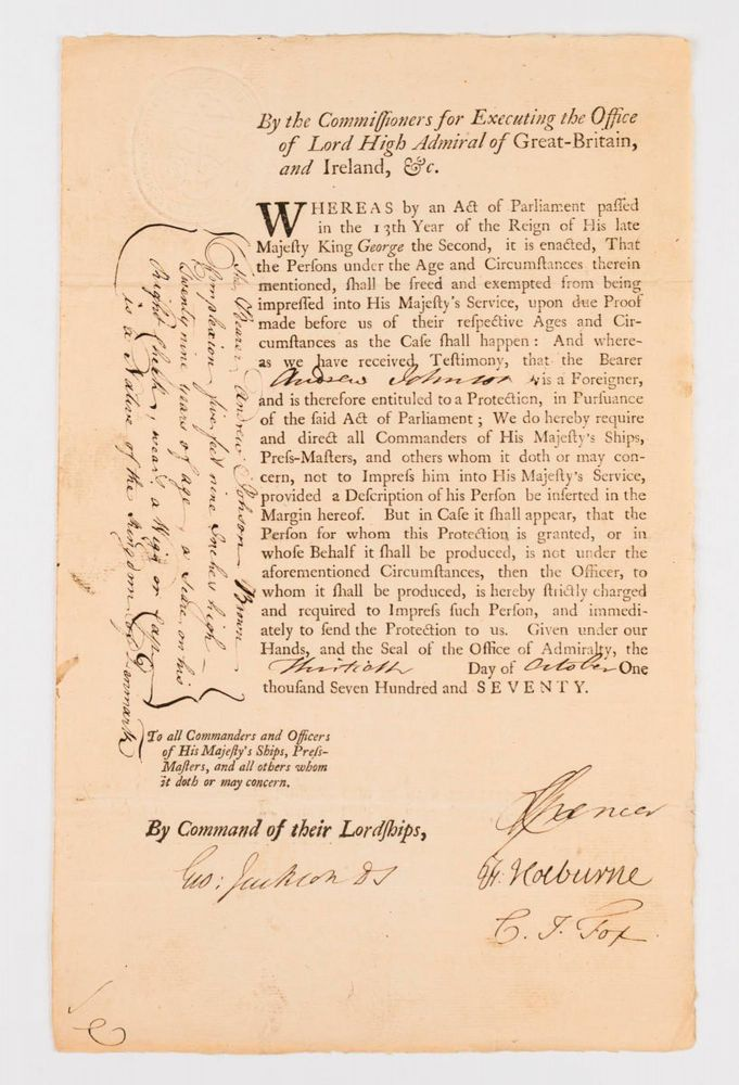 A document signed by Sir George Jackson (1725-1822), as Judge Advocate of the Fleet, on 30 October 1770, the year his friend Captain James Cook named Port Jackson (and Cape Jackson in New Zealand) after him. Sir George JACKSON, Charles FOX.