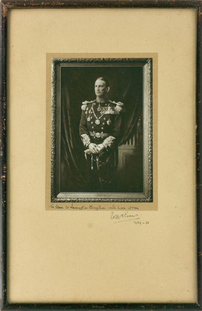 A signed photograph of a portrait in oils of Admiral Edward Evans in full dress uniform. Admiral E. R. G. R. EVANS, Edward Ratcliffe Garth Russell.