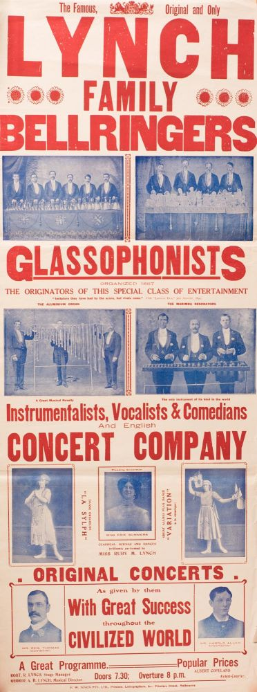 A pair of posters for 'The Famous, Original and Only | Lynch | Family | Bellringers | Glassophonists'. Bellringing.
