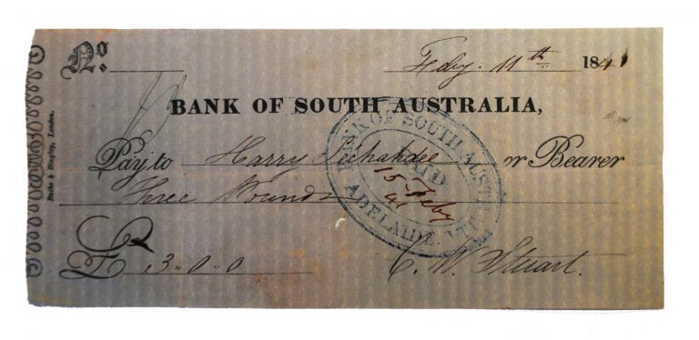 Two early items associated with the Bank of South Australia are offered together. (1) A manuscript personal promissory note (90 x 167 mm) dated Adelaide, 24 October 1840 - 'Three months after date pay to my order Thirty Pounds value received. F.W. Allen. To C.W. Stuart Esqre'. Stuart has written across it 'Accepted Payable at the Bank of South Australia'. It was subsequently stamped by the Bank of South Australia, Adelaide when it was paid on 27 January 1841. The verso is endorsed by F.W. Allen, C. Crispe and 'For the Bank of South Australia Edwd Stephens Manager'. Apart from two vertical creases and a tiny spike hole, it is in fine condition. (2) A printed Bank of South Australia cheque (80 x 180 mm, printed by Batho and Bingley, London) with manuscript insertions - 11 February 1841, from C.W. Stuart to Harry Lechahdee[?] for 3 pounds. A bank stamp on it indicates it was paid out in Adelaide on 15 February 1841. It is endorsed on the verso by Robert Champlay, an indecipherable signature and three small Xs. It is lightly creased, with a tiny spike hole; on the verso, there is a discoloured band denoting the outer surfaces when the item was originally folded; essentially it is in excellent condition. It goes without saying that these are utterly rare ephemeral items, dating from when the colony was barely four years old. However, because of this, we are able to identify most of the signatories, thus giving these trifles much greater weight. Bank of South Australia.