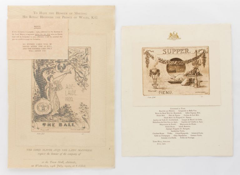 The menu for supper at the Adelaide Town Hall, July 1920, one of the civic celebrations organised during the visit of His Royal Highness, Edward, the Prince of Wales (later King Edward VIII). Victor COBB.