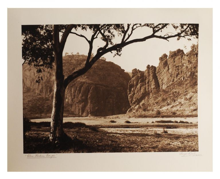 An album of 25 bromoil prints of Central Australia, individually captioned and signed (Hugo Keil ARPS) in pencil on the wide bottom margins; undated, but early 1940s? The images (195 x 245 mm or the reverse) are tipped in on album leaves (rectos only); these are cord-bound into the cloth-covered album (now slightly rubbed and marked); they are in uniformly fine condition. Hugo KEIL.