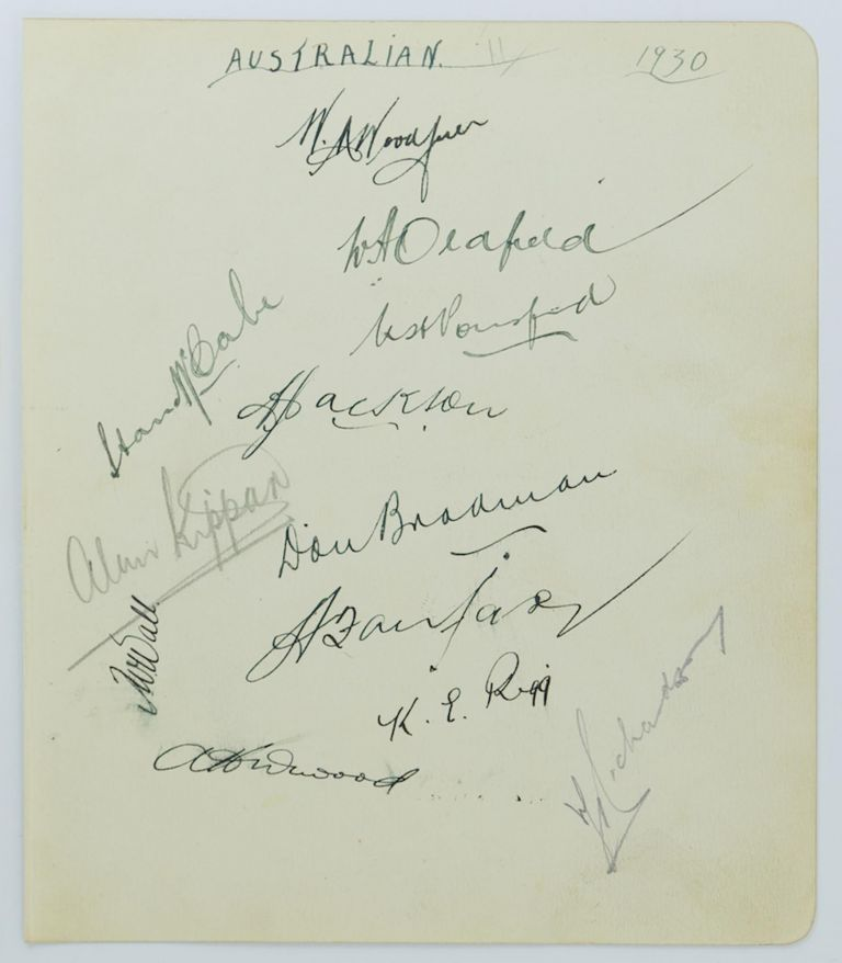 A detached autograph album leaf (195 × 165 mm) signed (mainly in ink) by twelve members of the 1930 Australian team, almost certainly collected at the time of the first-ever Test match against the West Indies in Adelaide in December 1930. Cricket, 1930 Australia.