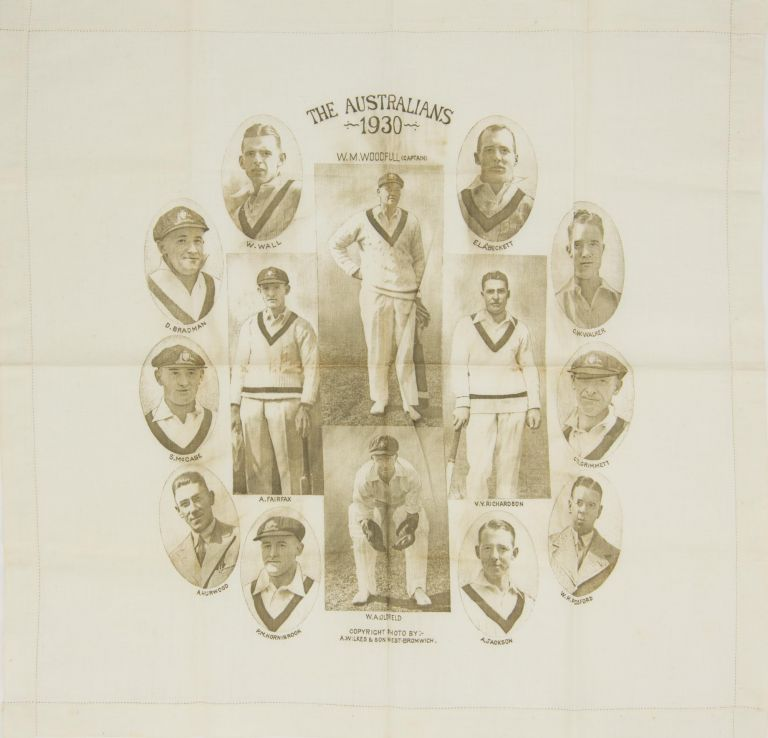 A linen handkerchief (405 × 425 mm) produced to commemorate the 1930 tour of England by the Australian Test team. Cricket, 1930 Australia.