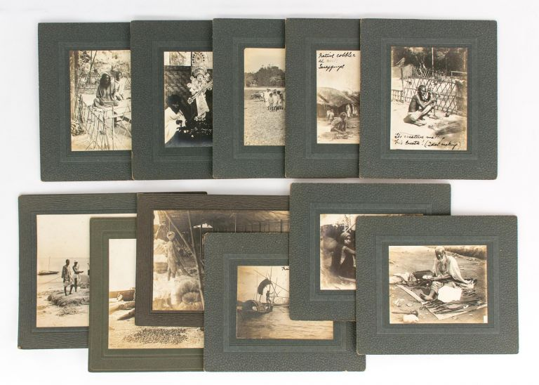 A group of eleven vintage gelatin silver photographs (circa 1920s) mounted individually on commercial blind-embossed cards; the photographer is not identified. India.