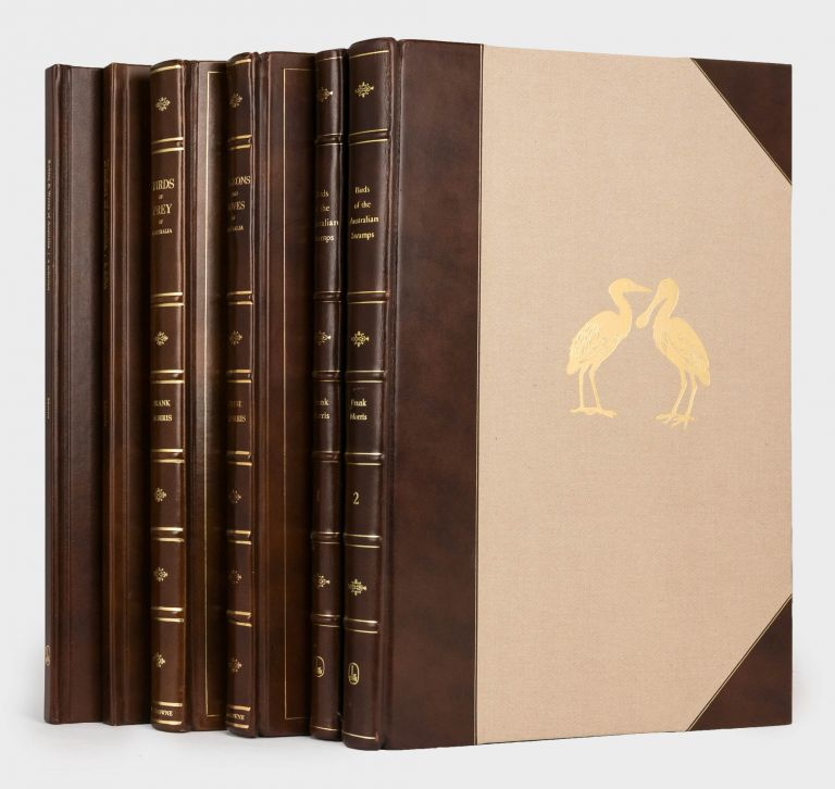 Six limited edition volumes on Australian birds by Frank Morris are offered as one lot. The collection comprises 'Birds of Prey of Australia' (1973); 'Pigeons and Doves of Australia' (1976); 'Finches of Australia - a Folio' (1976); 'Birds of the Australian Swamps' (two volumes, 1978 and 1981); and 'Robins and Wrens of Australia - a Selection' (1979). Frank T. MORRIS.