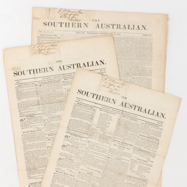 The Southern Australian. Volume 1, Number 29 (15 December 1838) + Number 30 (22 December 1838) + Volume 2, Number 52 (29 May 1839). George Fife ANGAS.