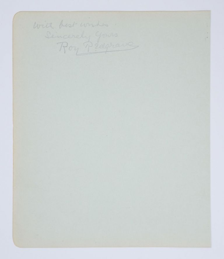 An autograph inscription signed (in pencil) on a large detached album leaf (190 × 160 mm, with an unrelated inscription on the verso). English stage, patriarch of the Redgrave acting family silent film actor.