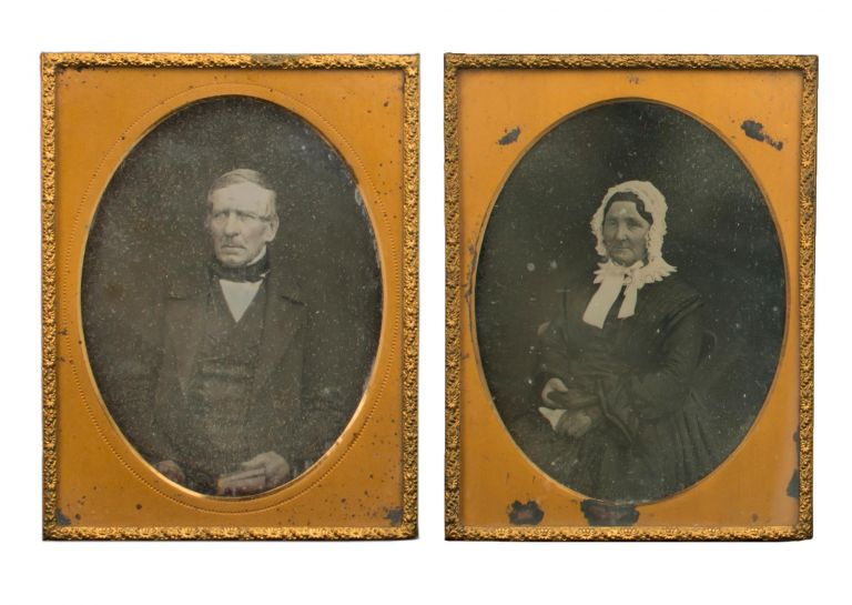 A pair of quarter-plate daguerreotype portraits (each approximately 100 × 80 mm) of Thomas Radford (1795-1867) and his wife Martha (1796-1867). The Radfords were born in Devon, emigrated to South Australia in October 1838, and lived in the Barossa Valley from the mid-1840s until their death. From the perceived ages of the subjects, these images would appear to date from the 1850s. Other (later) images of the Radfords are held in the State Library of South Australia. They substantiate the identification, and confirm that these daguerreotypes, by an anonymous photographer, are of (rural South) Australian origin, as the Radfords did not leave the colony after they arrived here in 1838. Australian Daguerreotypes.