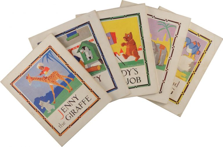 The complete set of six booklets in the 'Out of the Ark' series. Individual titles are Ham and the Egg; Teddy's New Job; Wally the Kangaroo; Jennie the Big Giraffe; Grunty the Pig; and Jimmy the Baby Elephant. S. G. Hulme BEAMAN.
