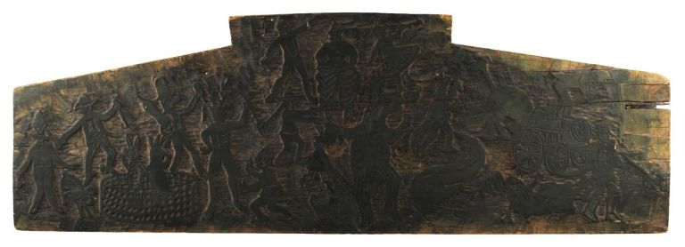 A superb wooden printing block (565 mm long, between 130 and 190 mm high, and 22 mm deep). We know nothing definite about it, but presume it to be of Australian origin, possibly from the turn of the century before last. Printer's Woodblock.