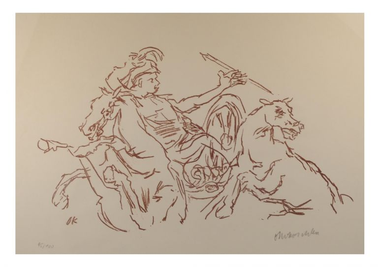 'Achills Sturz' [Achilles' Fall, 1969]. An original chalk lithograph (now archivally matted, visible surface 325 × 415 mm) printed in red-brown ink on handmade paper, signed and numbered (95/100) by the artist in pencil in the lower margin. Wingler and Wenz 453 (noting that a further 40 copies in three variants were produced, 20 'hors de commerce' and 20 for the artist). In fine condition. Oskar KOKOSCHKA, poet and playwright Austrian artist.