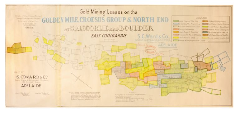 Gold Mining Leases on the Golden Mile, Croesus Group & North End at Kalgoorlie, and Boulder, East Coolgardie... Issued by S.C. Ward and Co., [Stock & Share Brokers], 30 Grenfell St., Adelaide ... EOE 15/11/33. Map: Kalgoorlie and Coolgardie.