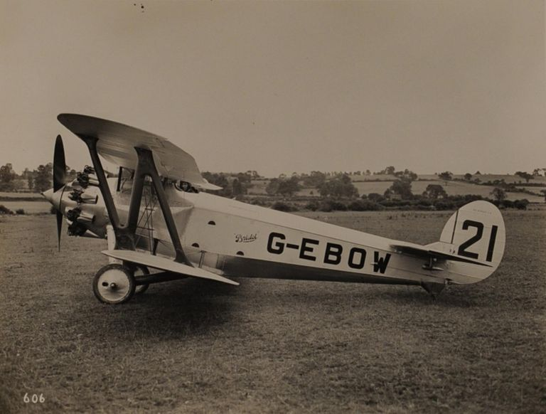 An impressive collection of nineteen vintage gelatin silver photographs of Bristol aircraft from the 1910s to the 1930s. Aviation.