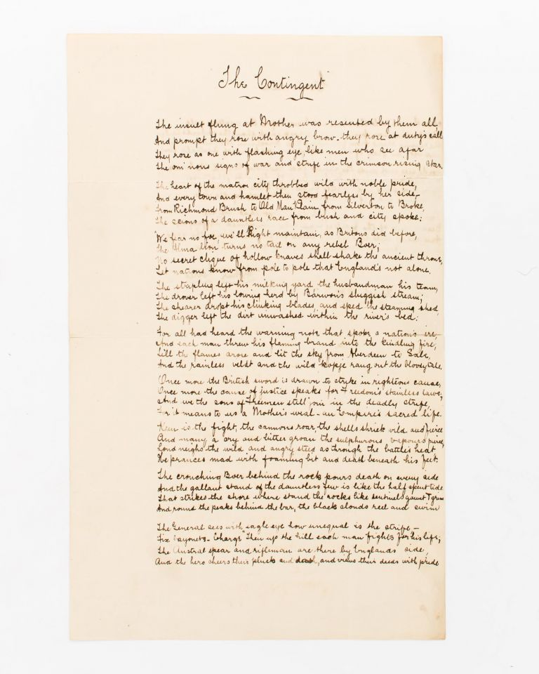'The Contingent.' A manuscript patriotic poem about the Second Boer War. Boer War, Arthur' 'FERRES, John William KEVIN.