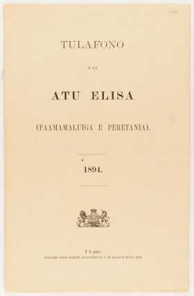 Native Laws of the Ellice Islands (British Protectorate). 1894 [cover title]. Ellice Islands