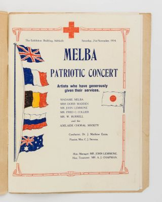 Souvenir. Melba Patriotic Concert. Exhibition Building, Adelaide, 21st November, 1914 [cover title]