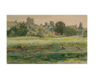 'Windsor Castle from Eton Meadows'. An original watercolour painting, captioned (twice, once indistinctly), signed and dated in pencil (H.P. Gill 07). Harry Pelling GILL.