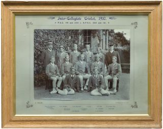 'Inter-Collegiate Cricket, 1910. PAC 118 and 209 v SPSC 368 and 191'. An original gelatin silver photograph of the St Peter's College team, victorious to the tune of 232 runs. Cricket, Clarence Everard PELLEW, Alban George MOYES, 'Nip', 'Johnny'.