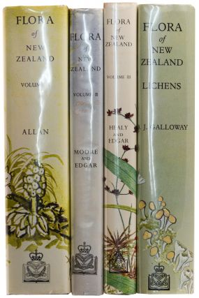 Flora of New Zealand. Volume 1: Indigenous Tracheophyta .. by H.H. ALLAN. Volume 2: Indigenous Tracheophyta. Monocotyledones .. by Lucy MOORE and Elizabeth EDGAR. Volume 3: Adventive Cyperaceous .. by A.J. HEALY and Elizabeth EDGAR. [Volume 4]: Lichens by D.J. GALLOWAY