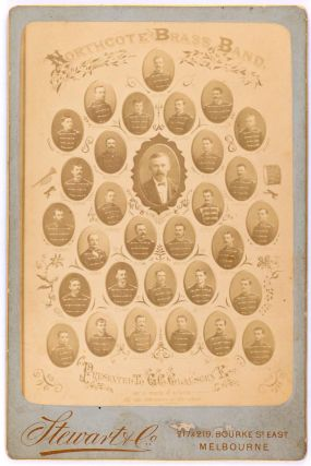 Northcote Brass Band. An albumen paper cabinet photograph (image size 136 x 95 mm) on the original gilt-edged printed mount of Stewart and Co., 217 and 219 Bourke St East, Melbourne. Undated, but probably 1890s