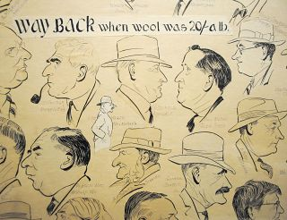 'Way back when wool was 20/- a lb'. A very large collage comprising 47 original individual caricatures of well-known pastoral identities ('Portrait sketches by Bushwaka' - black ink on paper, mounted on heavy card)