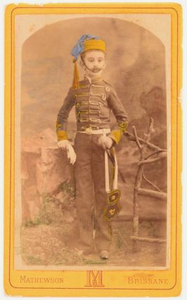 A hand-coloured albumen paper carte de visite photograph of a young boy in an unidentified...