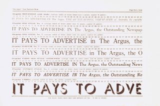 Victoria as an Advertising Field. 'The Argus' Type Faces. Together with Some Facts compiled and issued with the Compliments of the Proprietors of 'The Argus'
