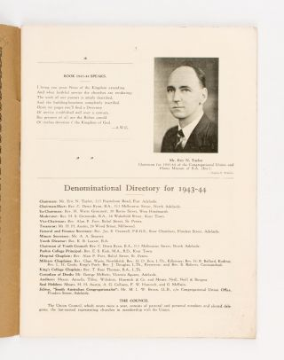 'The Story of the Churches'. A Review of the Work of the Congregational Union and Home Mission of South Australia (Inc.) during 1942, and Illustrated Record of Denominational Institutions and Personnel for 1943-44 [cover title]