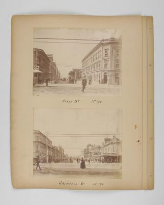 Four original albumen paper photographs mounted on one sheet of card from a loose-leaf album....