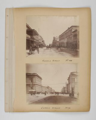Four original albumen paper photographs mounted on one sheet of card from a loose-leaf album. They are numbered and captioned on the mount - No. 169: Rundle Street. No. 172: Currie Street. No. 173: Pirie St. No. 174: Grenfell St