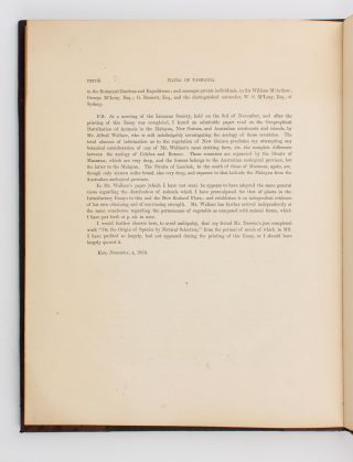 On the Flora of Australia, its Origin, Affinities, and Distribution; being an Introductory Essay to the Flora of Tasmania... Reprinted from the Botany of the Antarctic Expedition, Part III, Flora of Tasmania, Vol. I