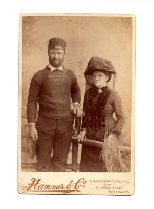 A cabinet card photograph (circa 1890s) of two members of the Salvation Army in South Australia....