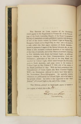 A Biographical Sketch of Colonel William Light, the Founder of Adelaide and the First Surveyor-General of the Province of South Australia
