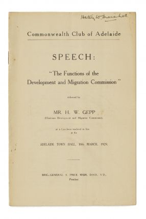 Speech - 'The Functions of the Development and Migration Commission' - delivered by Mr H.W. Gepp...