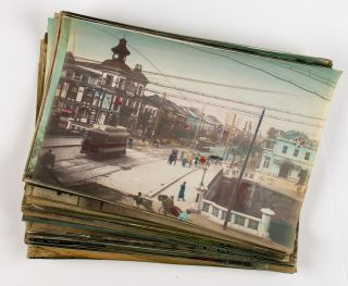 Approximately 90 late nineteenth-century hand-coloured albumen paper photographs of Japan