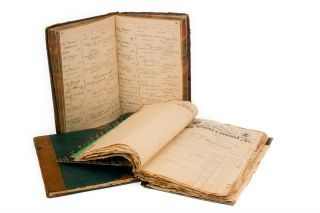 Two very detailed manuscript ledgers from Boettger's practice as an optician (1886-1894),...