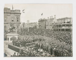 Three large vintage gelatin silver photographs of the unveiling of the South African War Memorial, at the corner of North Terrace and King William Street, Adelaide (then known as the National War Memorial) on 6 June 1904