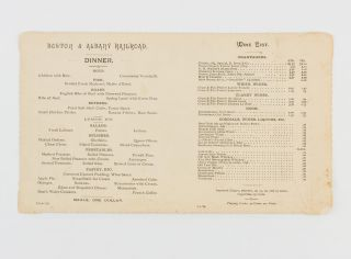 Boston & Albany R.R. Dining Car Service between Boston and Utica on the Boston and Chicago...