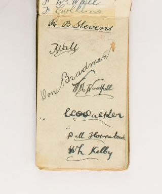 One leaf in a small autograph album (leaf size 80 × 138 mm) signed in ink (on the recto only) by seven members of the Australian squad selected to tour England in 1930