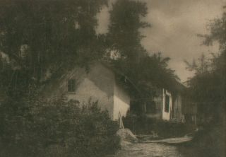 Houses at the Forest's Edge. A vintage carbon print (visible image size 145 × 210 mm). John...