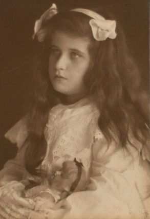 Portrait of Guenn Benda (Kauffmann's niece) and her Doll. A vintage gelatin silver photograph...