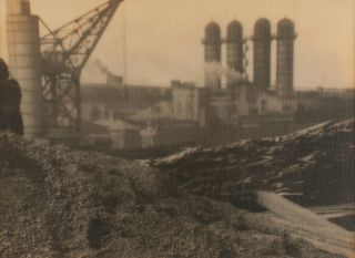 'The Gasworks' [Blast Furnaces, Newcastle Steel Works]. A vintage gelatin silver photograph (visible image size 256 × 350 mm) on the original mount. John KAUFFMANN.