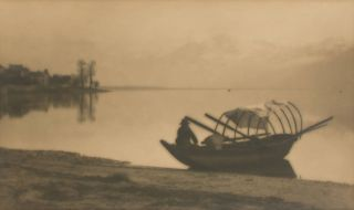 'Boat and Lake Lugarno'. A vintage carbon print (visible image size 140 × 235 mm) on the...