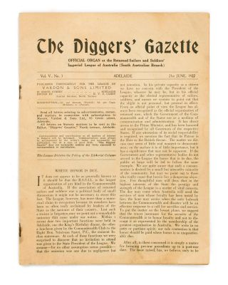 The Diggers' Gazette. Official Organ of the Returned Sailors' and Soldiers' Imperial League of...