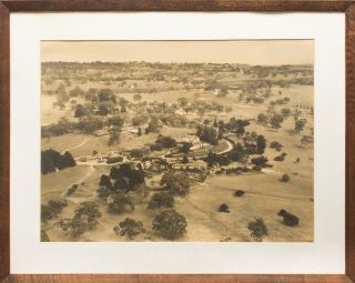 A large aerial photograph of Lindsay Park (circa 1930), the sprawling homestead near Angaston in the Barossa Valley which George Fife Angas made his home upon his arrival in South Australia in 1851. Long know as a stud for thoroughbred racehorses, the property is now owned by Goldin Farms. Angas Family Property, Douglas Darian SMITH.